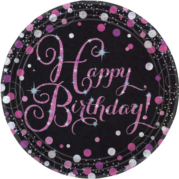 Pink Celebration Happy Birthday Paper Plates